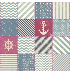Retro patchwork in nautical style vector