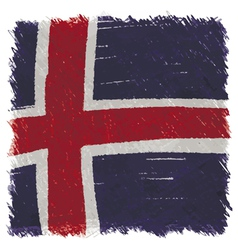 Flag of iceland handmade square shape vector