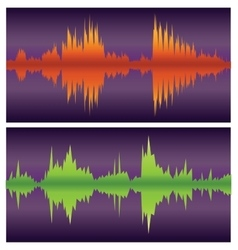 Green and orange sound waves on purple vector