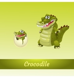 Crocodiles family mother and newborn from the egg vector