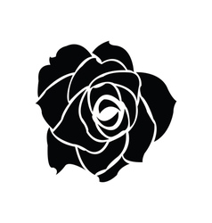 Black silhouette of rose vector