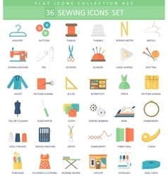 Sewing color flat icon set elegant style vector