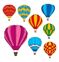 Hot air balloons colorful sketches in retro style vector