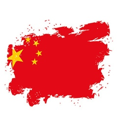 China flag grunge style on white background brush vector