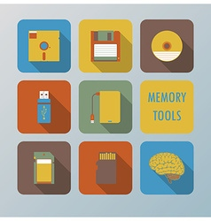 Retro memory tools icons set vector