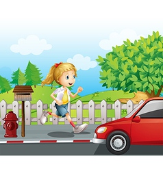 A girl running along the road vector image vector image