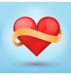 Background beautiful red heart and ribbon vector
