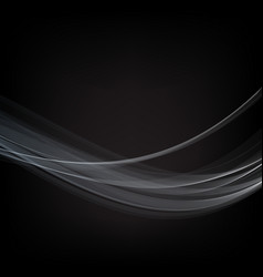 blue wave smoke on black background vector image