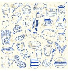 Breakfast doodles vector