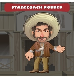 Cartoon character in wild west - stagecoach robber vector