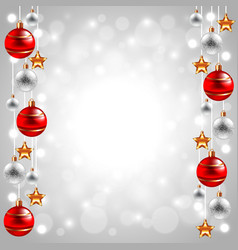 Christmas balls on white winter background vector image vector image