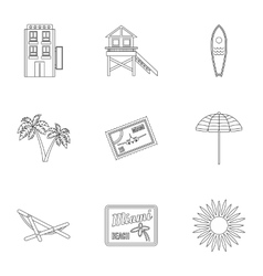 City miami icons set outline style vector