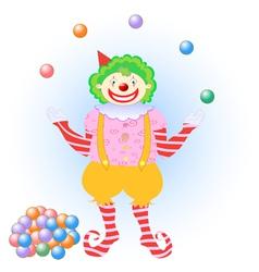 Clown juggling colorful balls vector