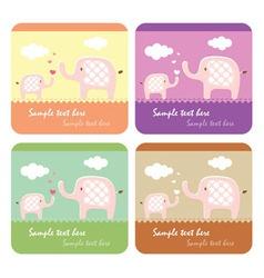 cute elephants card vector image vector image