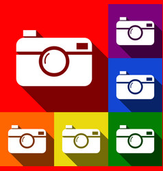 Digital photo camera sign set of icons vector