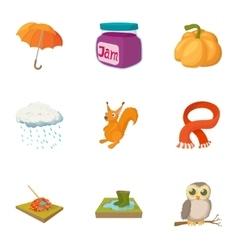 Falling leaves season icons set cartoon style vector