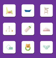 Flat icon baby set of napkin mobile rattle and vector