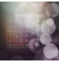 forty-eight universal thin line icons for business vector image