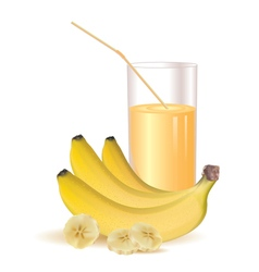 Glass of juice and ripe bananas and sliced bananas vector