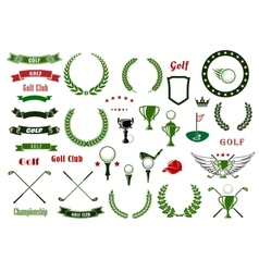 Golf and golfing sport elements or items vector image