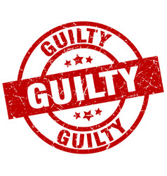 Guilty round red grunge stamp vector