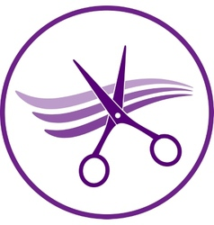 Icon with hair and scissors vector