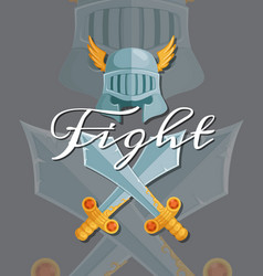 medieval crossed swords and helmet elements vector image