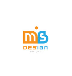 ms m s orange blue alphabet letter logo vector image vector image