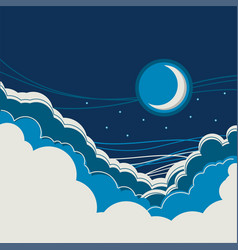 Night sky background with half moon and clouds vector