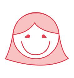 Pink women face cartoon vector