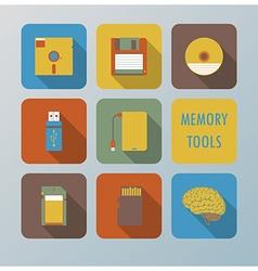Retro memory tools icons set vector