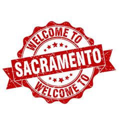 Sacramento round ribbon seal vector