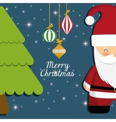 Santa and pine tree of chistmas design vector