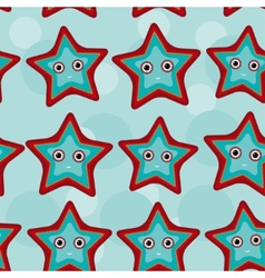 Seamless pattern with funny cute starfish animal vector image vector image