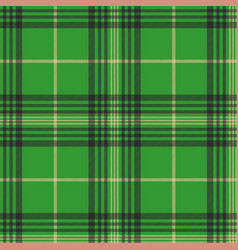 Seamless plaid green tartan check fabric texture vector