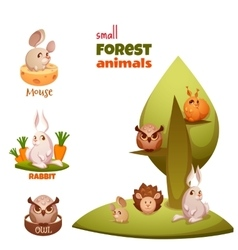 set of small forest cute animals vector image vector image