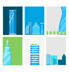 skyscrapers buildings cards tower office city vector image vector image