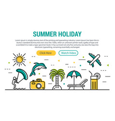 Summer holiday - rectangular site header vector
