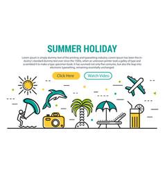 summer holiday - rectangular site header vector image vector image