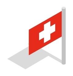 Switzerland flag icon isometric 3d style vector image vector image