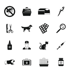 Veterinary icons set simple style vector image vector image