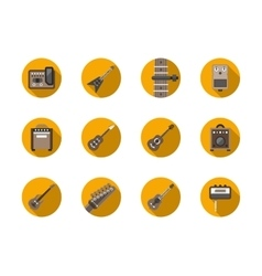 Guitars equipment round flat icons set vector