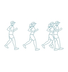 Run man and woman line icons vector