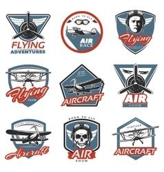 Vintage Colorful Aircraft Logos vector image