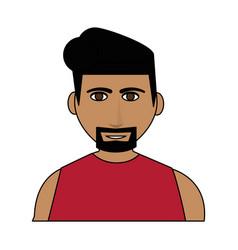 Color image cartoon half body man with muscular vector