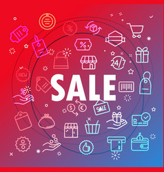 Sale concept different thin line icons included vector
