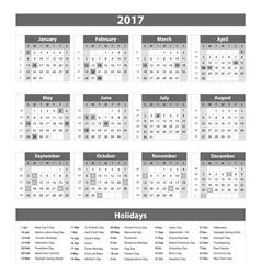2017 calendar grey - template of 2017 calendar vector