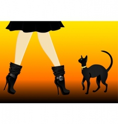 Cat and boots vector