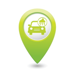 Car with vacuum cleaner icon map pointer green vector