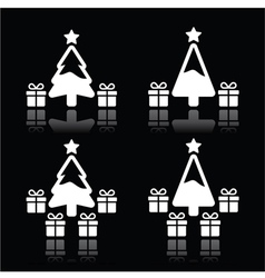 Christmas tree with presents white icons on black vector